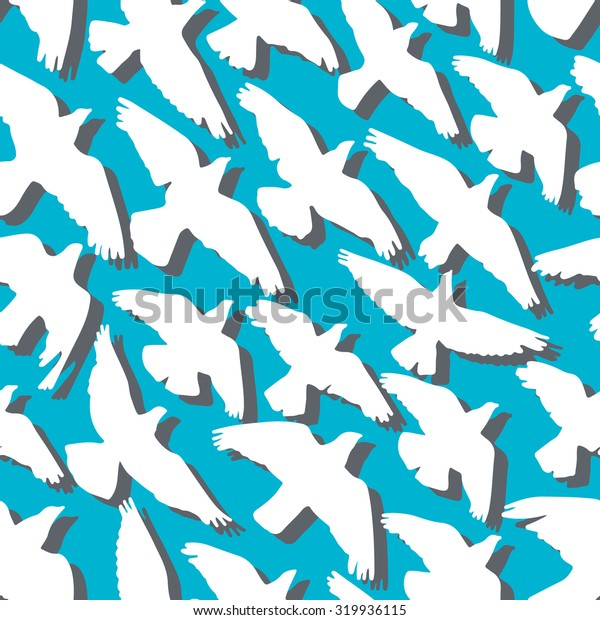 Doves and pigeons seamless pattern. Vector illustration
