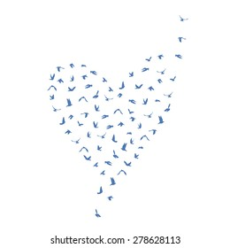 Doves and pigeons set heart shape for peace concept and wedding design. Flying blue birds set. Vector