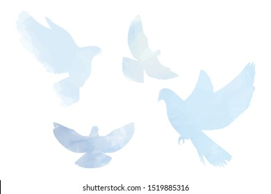 Doves silhouettes in tender pastel blue colors, peace, spring, easter elements white isolated.