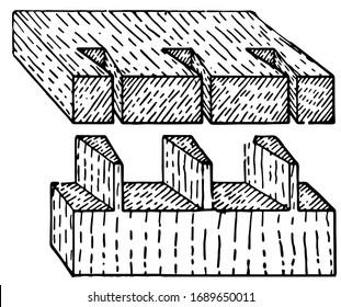Dovetail joints, vintage engraved illustration.