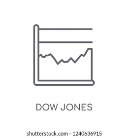 Dow Jones industrial average linear icon. Modern outline Dow Jones industrial average logo concept on white background from business collection.