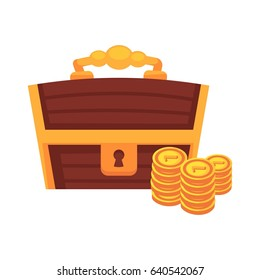 Dower wooden chest with lock, handle and golden coins vector
