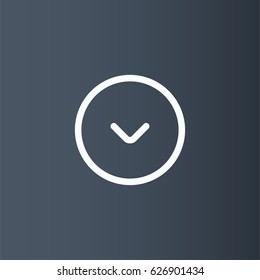 Down arrow in circle icon. Download vector