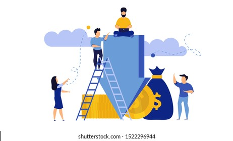 Down arrow decrease vector interest discount rate percent low. Man and woman with coins and money illustration concept graph chart crisis economic. Bad stock investment recession price. Fail budget
