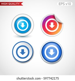 Down arrow or download icon. Button with down arrow or download icon. Modern UI vector.