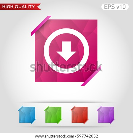 Down Arrow Download Icon Button Down Stock Vector (Royalty
