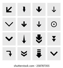 down arrow download icon set. simple pictogram minimal, flat, solid, mono, monochrome, plain, contemporary style. Vector illustration web internet design elements