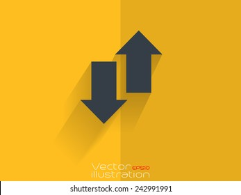 Up and down arrow icon on yellow background