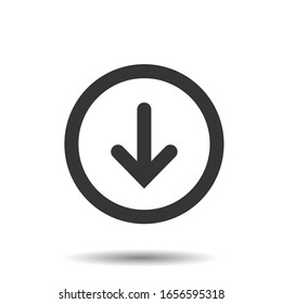Down arrow icon in trendy flat style isolated on background. arrow icon page symbol for your web site design arrow icon logo, app, UI. arrow icon Vector illustration, EPS10.