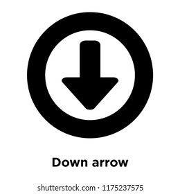 Down arrow icon vector isolated on white background, logo concept of Down arrow sign on transparent background, filled black symbol