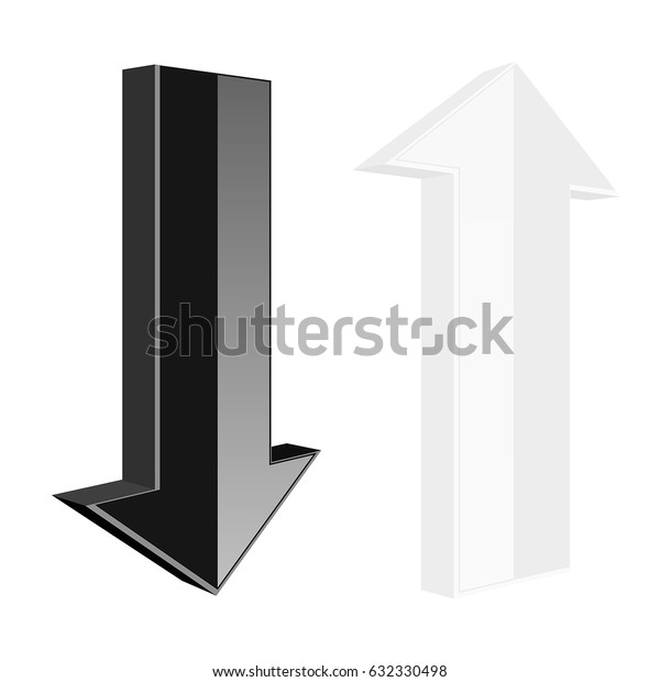 Up and down arrows. Black and white web icons. Vector 3d illustration isolated on white background