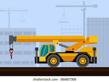 Down cab rough terrain industrial crane with construction background. Side view crane vector illustration