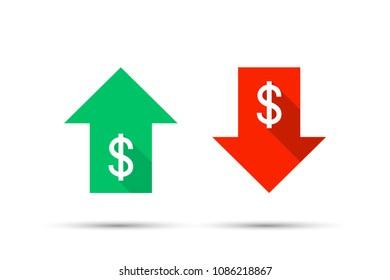 Up & Down Dollar Sign. Vector stock illustration.