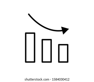 Down graph premium line icon. Simple high quality pictogram. Modern outline style icons. Stroke vector illustration on a white background.