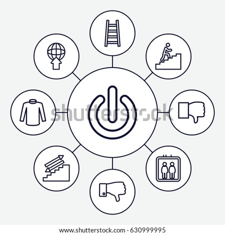 Down Icons Set Set 9 Down Stock Vector Royalty Free 630999995