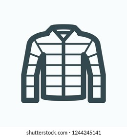 Down jacket icon, men's light weight down jacket vector icon