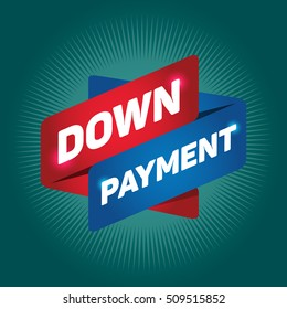 DOWN PAYMENT arrow tag sign.