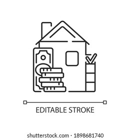 Down payment linear icon. Expensive good and service purchase. Real estate transaction. Thin line customizable illustration. Contour symbol. Vector isolated outline drawing. Editable stroke