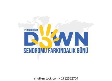Dünya Down Sendromu Günü. Translation: World Down Syndrome Day, vector