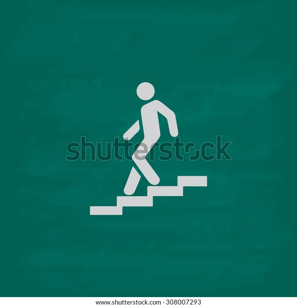 Down staircase. Icon. Imitation draw with white chalk on green chalkboard. Flat Pictogram and School board background. Vector illustration symbol