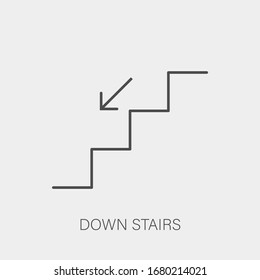 Down stairs icon in line art style. Vector EPS 10.