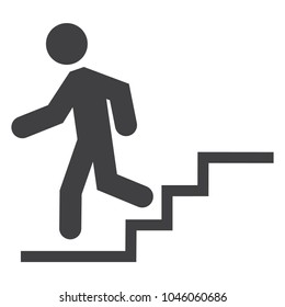 Down stairs vector icon. Downstairs sign, symbol. Walk man in the stairs. Career Symbol.