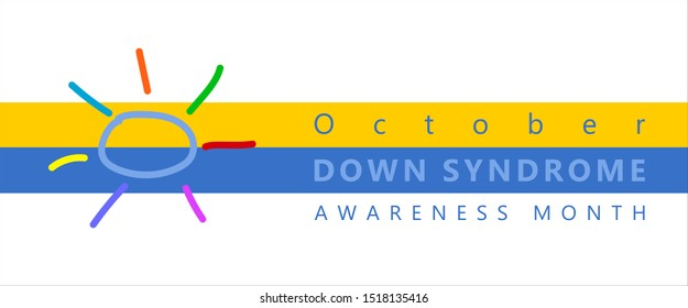 Down Syndrome Awareness Month Symbol  Yellow and Blue Line, painted sun