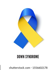 Down syndrome awareness symbol realistic vector illustration. Blue and yellow ribbon isolated on white background. World mental disability tolerance month, congenital brain disease solidarity