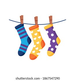 down syndrome socks hanging in wire flat style icon vector illustration design