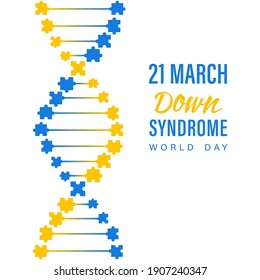 Down syndrome world day. Abstract molecule DNA with blue and yellow puzzle on a white backdrop. 21 March is World Down Syndrome Day.