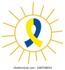 down syndrome. yellow blue ribbon in the sun