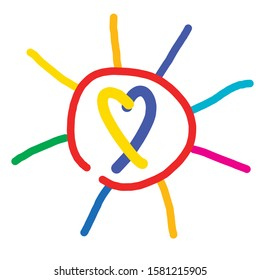 down syndrome. yellow blue symbol in hand drawn colorful sun