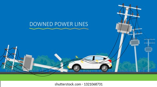 Downed Power Line Car vehicle Storm dangerous lightning strikes avoid down drive careful fall safe safety risk danger call 911 emergency