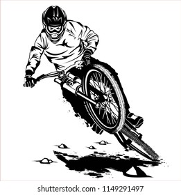downhill mauntain bike trail vector
