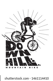 Downhill mountain bike. Silhouette man is riding bicycle opposite sun. Monochrome vector illustration with lettering