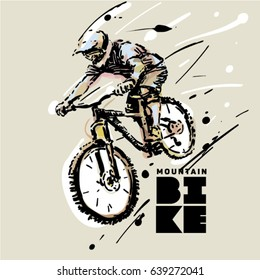 Downhill. Mountain bike. Sketch style vector illustration