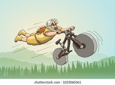 Downhill Mountain Biker from Primal Era. Freeriding Making Superman Stunt on Downhill Bike in Sabertooth Skull Helmet. Vector EPS10 on Background