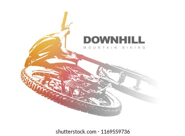 Downhill mountain biking background. Vector Illustration.