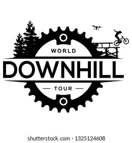 Downhill mountain biking logo with chainring. Extreme bicycle competition label.