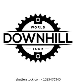 Downhill mountain biking logo with chainring. Extreme bicycle competition label.Place for text.
