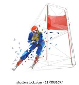 Downhill skier, low polyfonal vector illustration. Skiing, winter sport