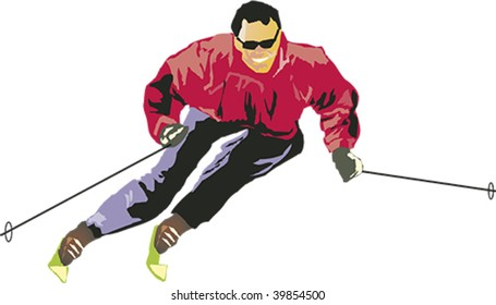 Downhill skier in a slalom pose imparting speed and action.