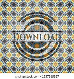 Download arabesque emblem background. arabic decoration.