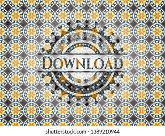 Download arabic badge background. Arabesque decoration.