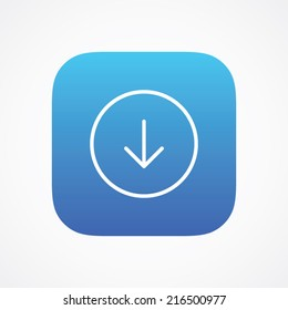 Download arrow icon in line style on the rounded button