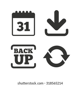 Download and Backup data icons. Calendar and rotation arrows sign symbols. Flat icons on white. Vector