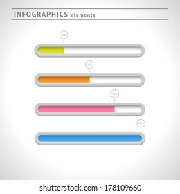 Download bars and progress indicators for infographics and web. Vector illustration
