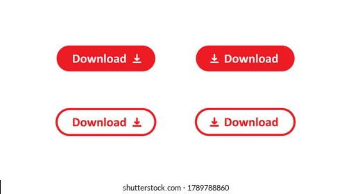 Download button, simple isolated icon set. Red arrow app concept in vector flat style.