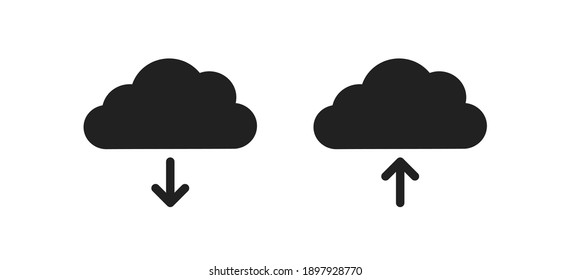 Download cloud icon. Upload data symbol. Web file outline sign in vector flat style.