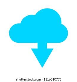 Download cloud icon, vector download illustration, cloud computing